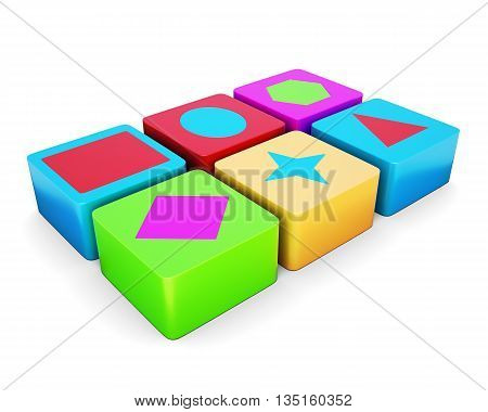 Educational colorful cubes isolated on white background. Different shape. Children's educational toys. 3d render image