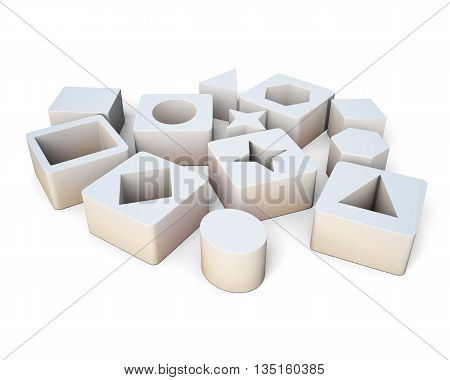 White cubes with geometric shapes isolated on white background. Educational blocks. Children's educational toys. 3d rendering.