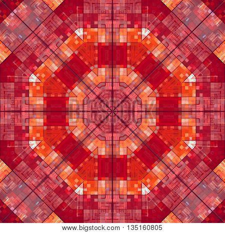 Abstract bright red square concentric pattern background