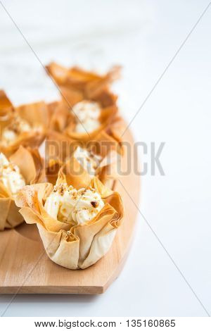 Homemade Filo Pastry Baskets With Mascarpone Cream