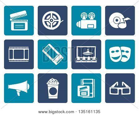 Flat Movie theatre and cinema icons - vector icon set
