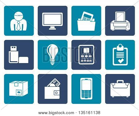 Flat Business and office equipment icons - vector icon set