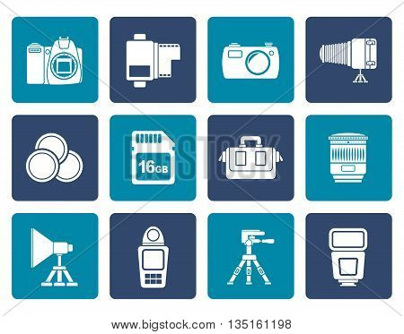 Flat Photography equipment and tools icons - vector icon set