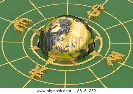 global currencies concept 3D rendering on green background
