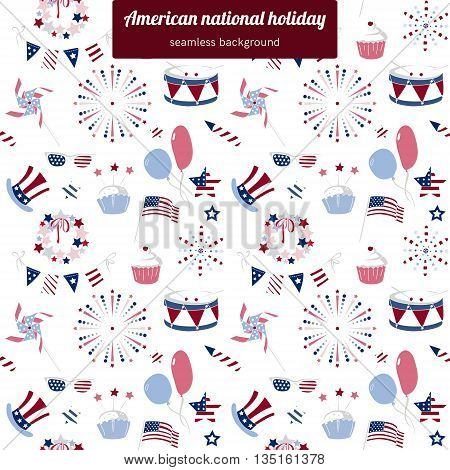 Seamless pattern for USA national holiday. Background with vector elements for America Independence Day, 4th of July. Fireworks, flag and BBQ. Blue and red.
