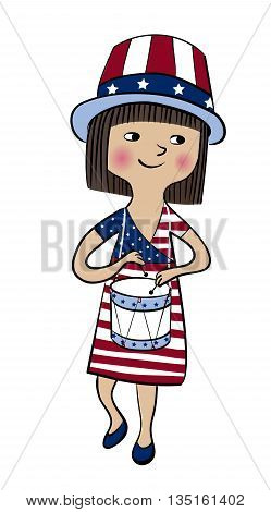 Girl dressed in american flag style with drum. 4th of July greeting card. USA Independence Day parade. America national celebration vector design.
