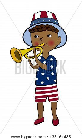 Boy dressed in american flag style with trumpet. 4th of July greeting card. USA Independence Day parade. America national celebration vector design.