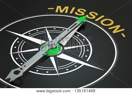 Mission compass concept 3D rendering on black background