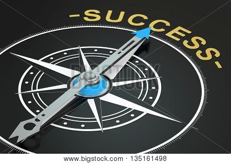 Success compass concept 3D rendering on black background