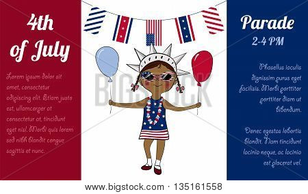 4th of July celebration advertising poster. Girl dressed in colors of american flag with balloon and flag. USA Independence Day. America national celebration vector cartoon design.