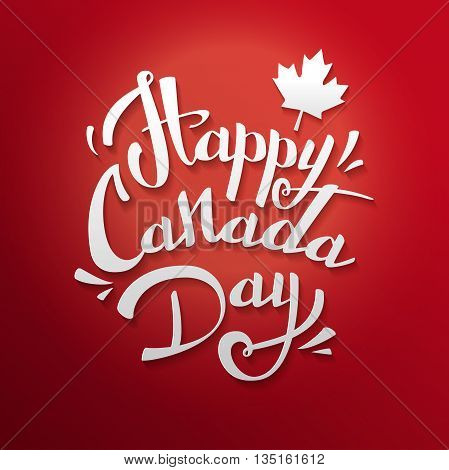 Happy Canada Day vector Illustration. 1st July celebration poster with text on red background with maple leaves.