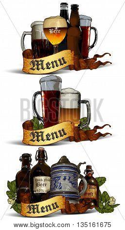 set of elements for design beer pubs menu