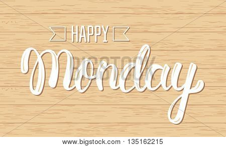 Happy monday. Trendy handwritten quote fashion graphics art print for posters and greeting cards design. Calligraphic isolated quote in white ink. Vector illustration