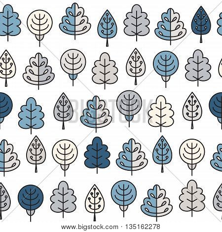Seamless Pattern With Outline Stroke Icons With Winter Tress.