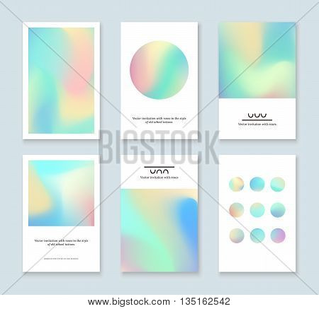 Set of colorful holographic cards. Abstract vector invitations with holographic elements.