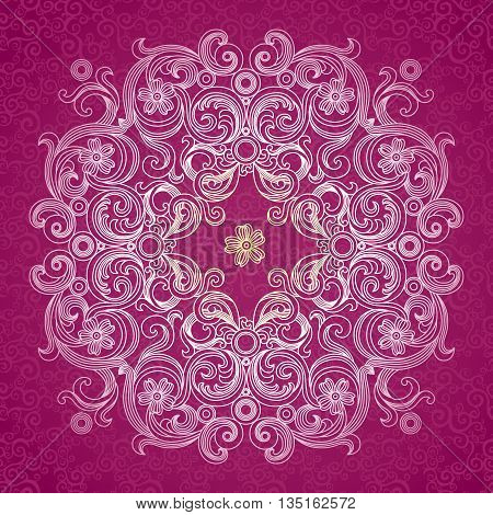 Abstract vector circle background. Lace pattern design. White ornament on purple scroll background. It can be used for decorating of wedding invitations greeting cards decoration for bags and clothes.