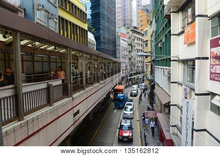 HONG KONG - NOV 9: Historic Hollywood Road and Central Mid-Levels Escalator on Nov 9, 2015 in Hong Kong Island, Hong Kong. Hollywood Road is the first road built in British Colonial era in 1841.