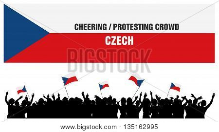 Czech 5 silhouettes of cheering or protesting crowd of people with Czech flags and banners.