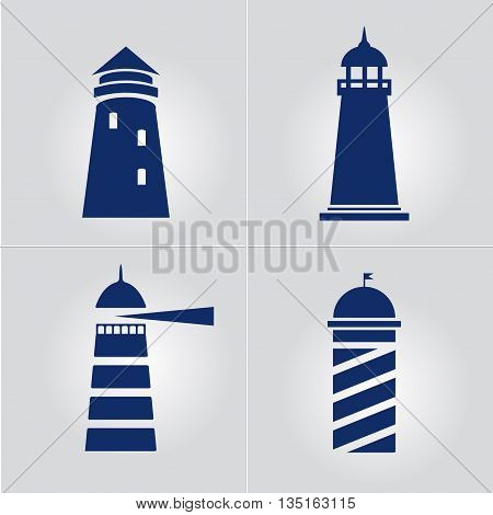 Lighthouse business sign set template. Lighthouse & abstract waves icon. Nautical banner. Corporate identity template. Editable layered vector illustration. Sample text.