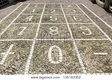 Milan (Lombardy Italy): numerical keyboard on a sidewalk with cobbles