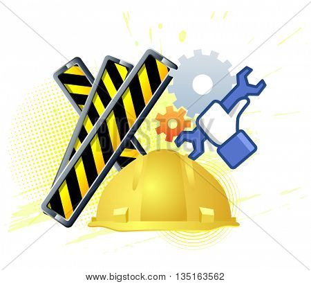 Maintenance mode icon with hand wrench. Like work emblem