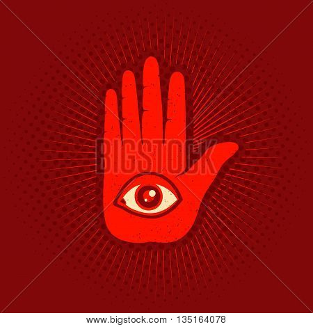 Vintage vector poster with hand and eye