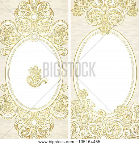 Vintage ornate cards with flowers and curls. Light Victorian floral decor. Template frame for greeting card and wedding invitation. Ornate vector border in east style. Place for your text.