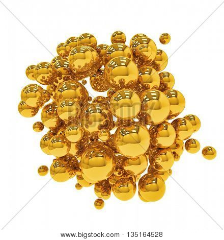 Group of golden spheres isolated on white background 3D illustration.