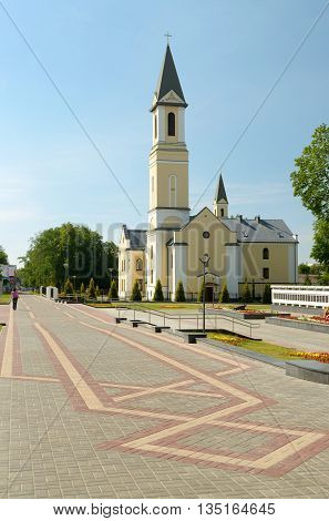 Byelorussia. Gomel.On the street there is a Catholic parish.This is a small but beautiful Church.