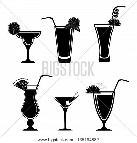 Set of different black cocktails isolated on white background