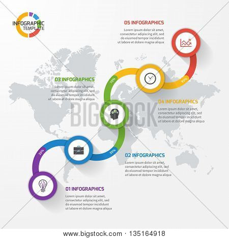 Abstract line graph infographic template for charts and diagrams. Business education industry science concept with 5 values options parts steps processes.