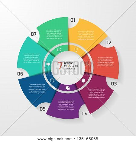 Vector circle infographic template for graphs charts diagrams. Pie chart concept with 7 options parts steps processes.