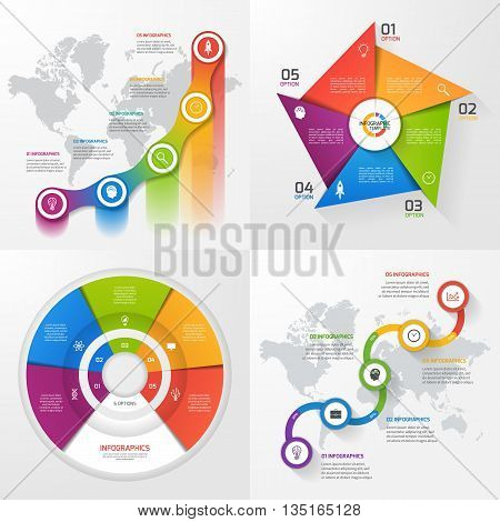 Set of four vector infographic templates. Business education industry science concept with 5 values options parts steps processes.