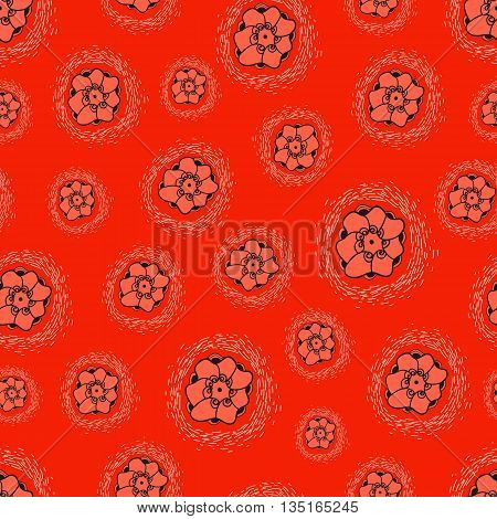 VFlowers seamless texture on red background.  ector backdrop. Use for  pattern fills web page background.