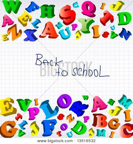 Back to school. Background with color alphabet. Vector