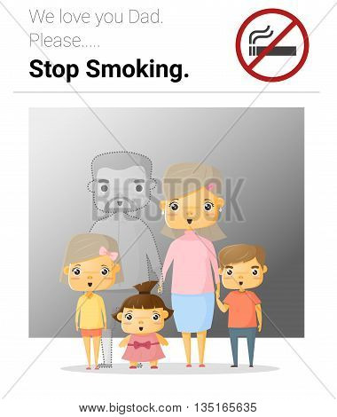 Family campaign daddy stop smoking , vector, illustration