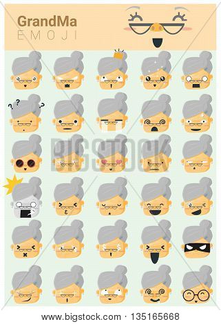 Grandma imoji icons , vector , illustration