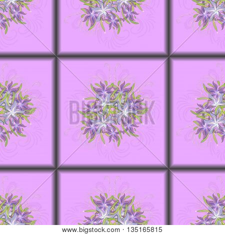 Seamless pattern of purple tiles with a bouquet of purple lilies in the centre, vector illustration