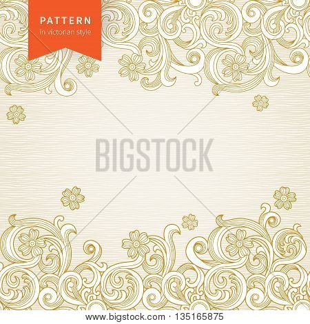 Vector ornate floral pattern in Victorian style. Element for design. Ornamental background. It can be used for decorating of wedding invitations greeting cards decoration for bags and clothes.