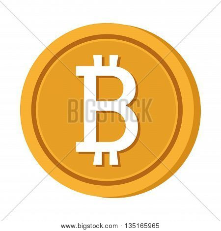 gold coin icon with bitcoin signal over isolated background, vector illustration