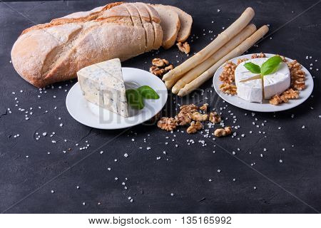 Blue Cheese And Camembert On Plates