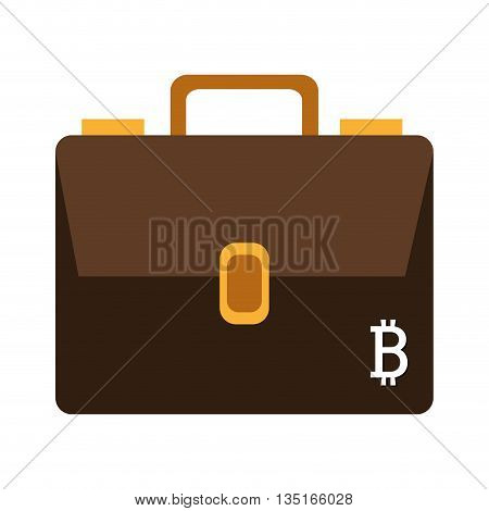 brown briefcase with gold icons and white bitcoin signal over isolated background, vector illustration