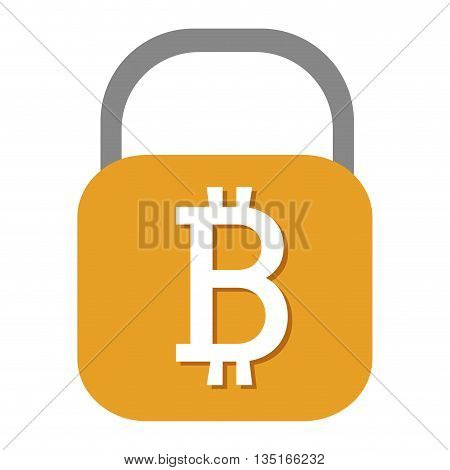 grey and yellow lock with bitcoin signal over isolated background, vector illustration