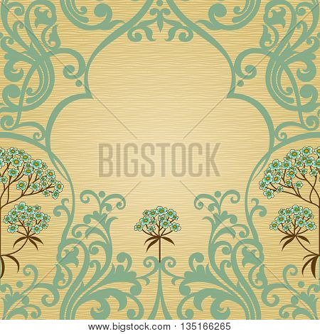 Traditional floral pattern in Victorian style. Place for text. Ornamental wallpaper in retro style. It can be used for wallpaper pattern fills web page background surface textures classic fabric.