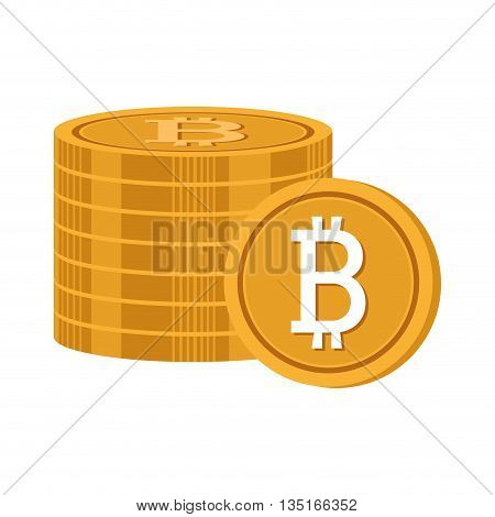 gold money coins with bitcoin signal over isolated background, vector illustration