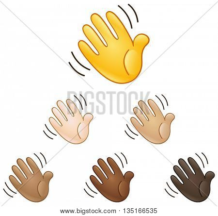 Waving hand sign set of various skin tones