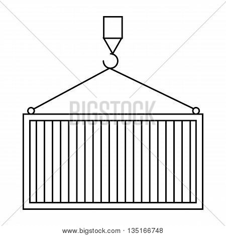 Lifting cargo by crane icon in outline style isolated on white background. Cargo delivery symbol