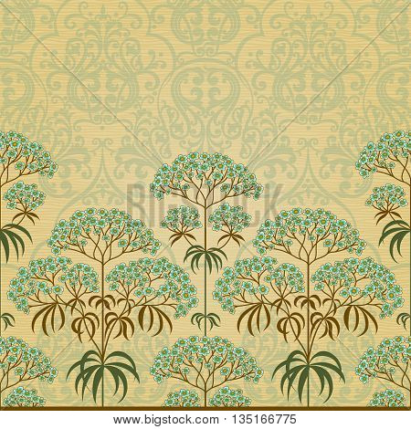 Traditional floral border in Victorian style. Place for text. Ornamental wallpaper in retro style. It can be used for wallpaper pattern fills web page background surface textures classic fabric.