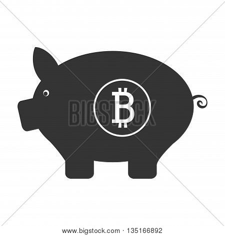 black pig money box with bitcoin signal and circle over isolated background, vector illustration