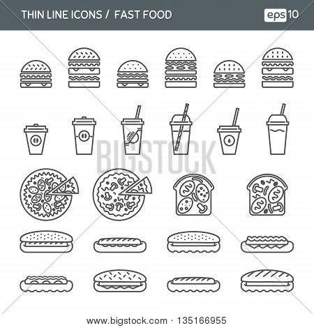 Fast food. Set with thin line icons. Vector illustration. EPS 10